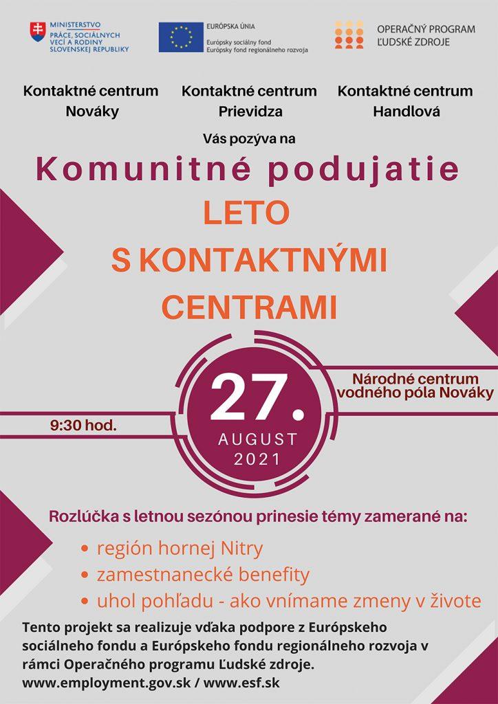 Pozvánka - Plagát Leto s kontaktnými centrami