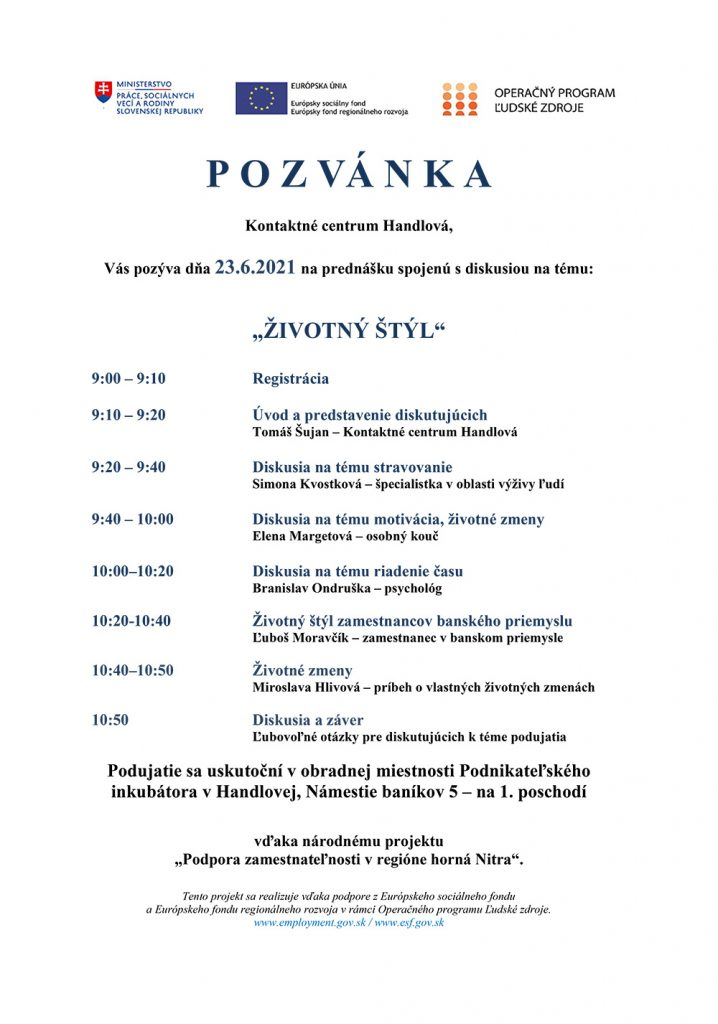 Program na prednášku - kontaktné centrum Handlová