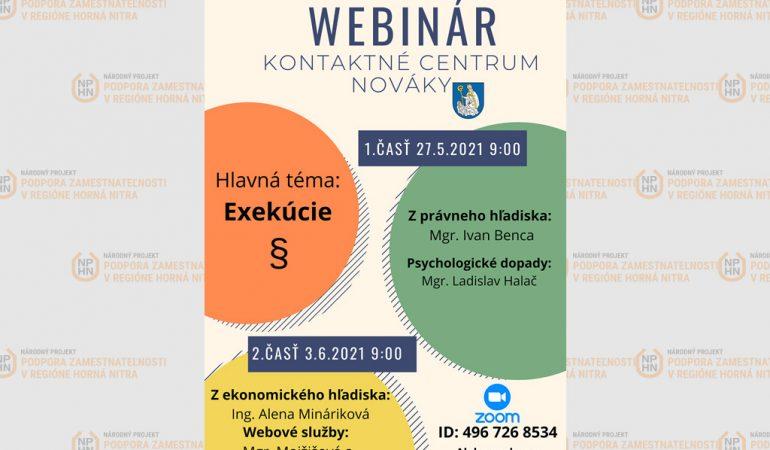 Pozvánka na webinár - kontaktné centrum Nováky